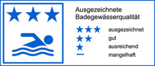 drei Sterne  = ausgezeichnete Badegewässerqualität gemäß EU-Richtlinie