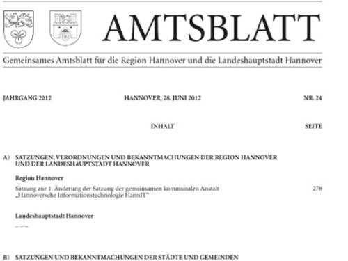 Erste Seite Amtsblatt