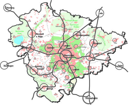 schematische Karte der Region Hannover (Raumstruktur Region Hannover und direktes Umland)