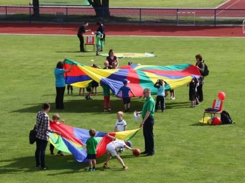 Kinder und Erwachsene mit Spielen auf einer Rasenfläche.