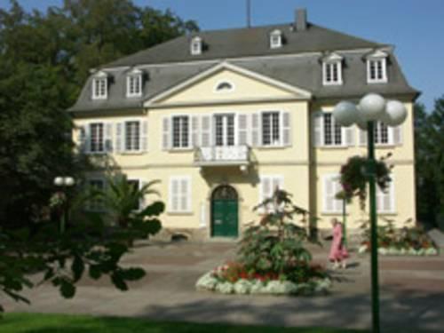 Gelbe Villa mit grüner Eingangstür und gepflastertem Fußgängerbereich