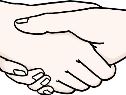 Zwei Hände berühren sich.