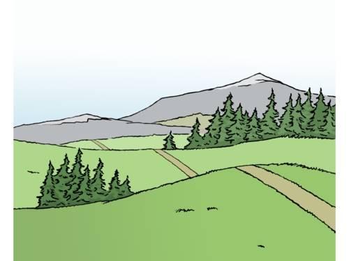 Eine Landschaft mit Bergen.