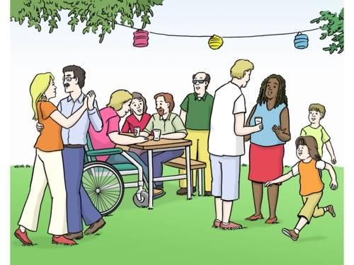 Menschen feiern in einem Garten.
