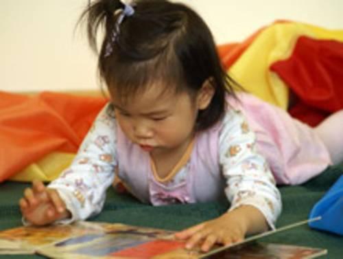 Kleinkind studiert Bilderbuch