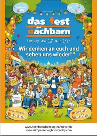 """Das Postkarten-Motiv  """"Europäischer Nachbarschaftstag"""" zeigt eine Zeichnung von vielen Menschen, die sich um einen großen gedeckten Tisch versammelt haben."""