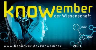 """Computeranimiertes Bild eines Roboterkopfes mit Text: """"knowember der Wissenschaft"""" und www.hannover.de/knowember"""