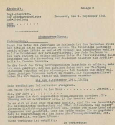 """Abschrift der Räumungsverfügung der Stadt Hannover im Rahmen der """"Aktion Lauterbacher"""" an die hannoverschen Juden vom 1. September 1941. Quelle: Stadtarchiv Hannover"""