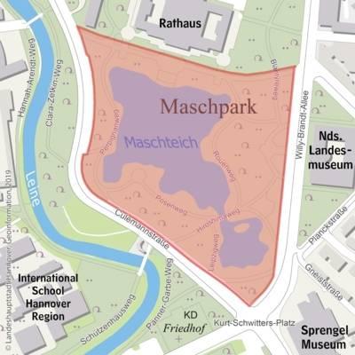 Karte des hannoverschen Maschparks.