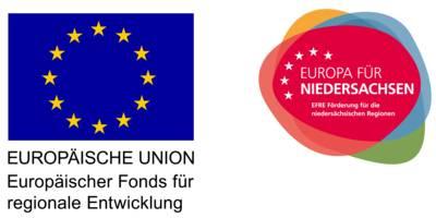"""Logos """"EUROPÄISCHE UNION – Europäischer Fonds für Nachhaltigkeit"""" und """"EUROPA FÜR NIEDERSACHSEN – EFRE Förderung für die niedersächsischen Regionen."""