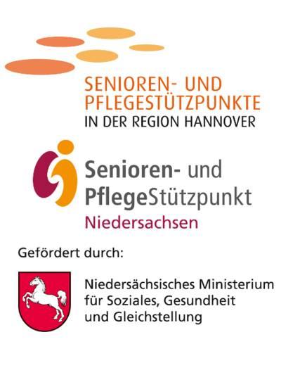 """Drei Logos mit Text: """"Senioren- und Pflegestützpunkte in der Region Hannover"""", Senioren- und PflegeStützpunkt Niedersachsen"""" und """"Gefördert durch: Niedersächsisches Ministerium für Soziales, Gesundheit und Gleichstellung""""."""