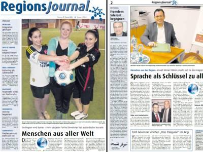 Titelblatt des RegionsJounals mit mehreren Artikeln und Bildern.