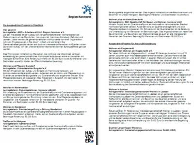 """Vorschau auf die ersten beiden Seiten des PDF-Dokuments """"Modellprojekte zum selbstbestimmten Leben im Alter"""""""