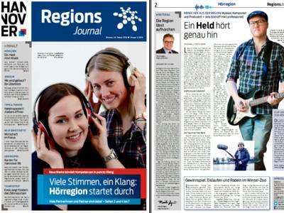 Vorschau auf die ersten beiden Seiten des RegionsJournal, Ausgabe Nr 1/2016