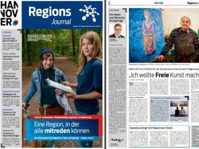Ausschnitt aus den ersten beiden Seiten des RegionsJournals