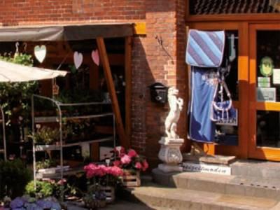 Ein Geschäft mit gefüllten Blumenständern vor der Tür