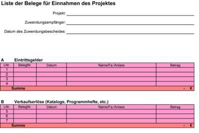 """Auszug eines Dokumentes mit dem Titel """"Liste der Belege für Einnahmen des Projektes"""" in der Kopfzeile. Darunter drei Felder sowie zwei Tabellen mit mehren Zellen zum Ausfüllen."""