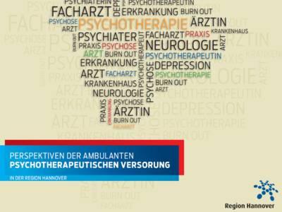 Eine Wolke aus Fachbegriffen und Schlagworten (Tag-Cloud), darunter ein blaues und rotes Rechteck mit dem Titel des Gesundheitsberichtes und das Punktelogo der Region Hannover.