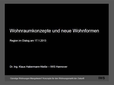 """Erste Folie einer Präsentation, beschrieben mit """"Wohnraumkonzepte und neue Wohnformen, Region im Dialog, Dr. Ing. Klaus Habermann-Nieße, Günstige Wohnungen Mangelware? Konzepte für den Wohnungsmarkt der Zukunft""""."""