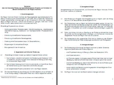 Bild von zwei computerbeschriebenen Seiten - Richtlinie über die finanzielle Förderung regionalbedeutsamer Projekte und Vorhaben im Bereich Klimaschutz in der Region Hannover.