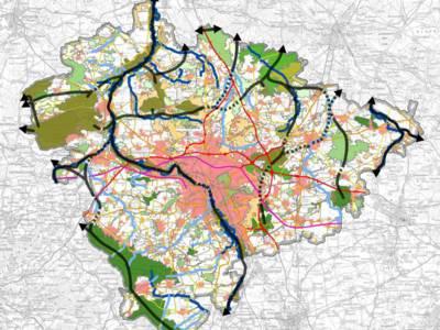 Karte mit farblich markierten Flächen