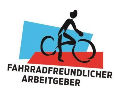 """Gezeichnetes Fahrrad mit einem Radfahrer und dem Schriftzug """"Fahrradfreundlicher Arbeitgeber"""""""