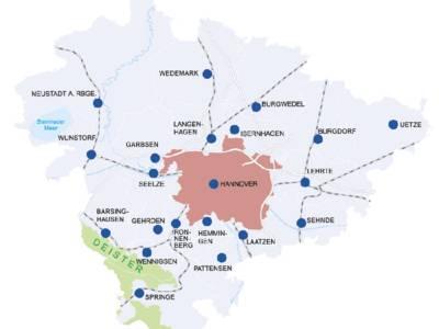 Kommunen der Region Hannover mit Verkehrswegen