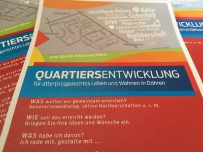 Flyer von der Quartiersentwicklung für alter(n)sgerechtes Leben und Wohnen in Döhren