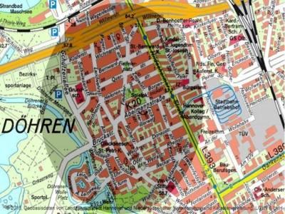 Räumliche Begrenzung des Quartiers in Döhren.