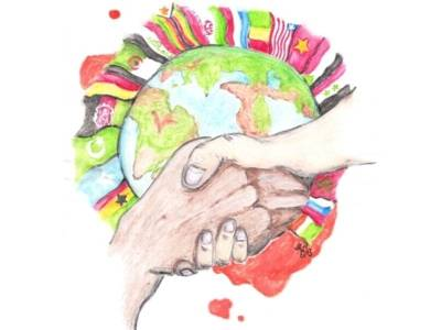 Handgezeichnetes Bild der Erdkugel, mit Fahnen von verschiedenen Nationen.