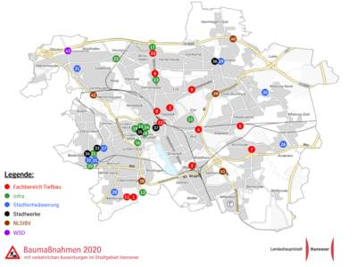 Eine Karte des hannoverschen Stadtgebietes, in der verschiedene Baumaßnahmen eingezeichnet sind.
