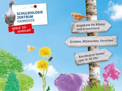 Collage aus Tieren und Pflanzen mit Wegweisern zum Schulbiologiezentrum