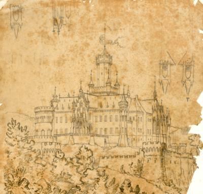 Perspektivische Entwurfszeichnung der Marienburg von Conrad Wilhelm Hase aus dem Jahr 1858