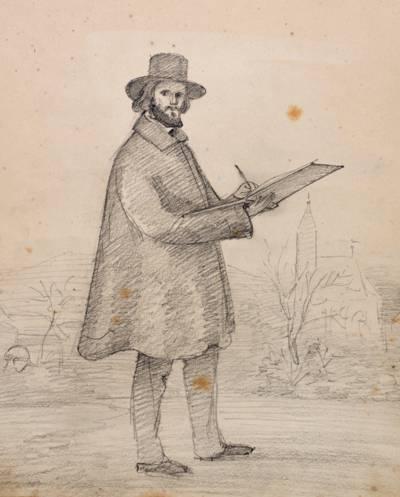 Selbstbildnis von Conrad Wilhelm Hase aus dem Jahr 1860, Zeichnung aus dem Familienbuch.