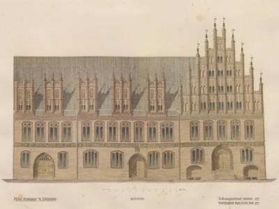 Skizze des Alten Rathauses aus dem Nachlass von Conrad Wilhelm Hase, Ansicht Marktseite nach der Restaurierung, 1879 (StadtAH 3 NL 546 Hase, Nr. 658)