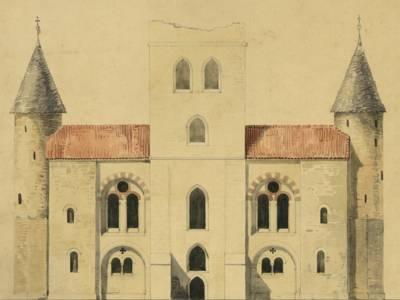 St. Michael in Hildesheim, Herstellung der östlichen Stirnmauer, Ansicht und Grundriss aus dem Nachlass von Conrad Wilhelm Hase von 1851 (StadtAH 3 NL 546 Hase Nr. 304)