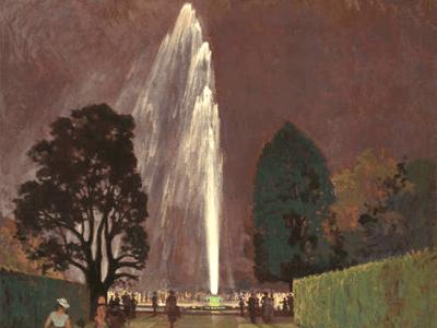 Die Große Fontäne bei Nacht, Öl auf Leinwand von Richard Schlösser, 1937