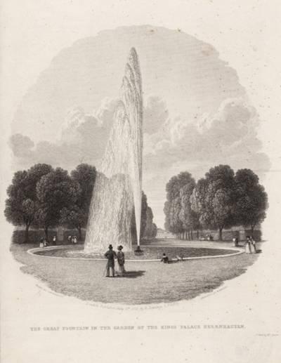 """The great fountain in the garden oft he Kings Palace Herrenhausen"", Stahlstich von R.Wallis, 1829"