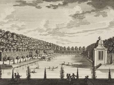 """""""Veue du Grand vivier Cabinet et Cascade"""", in: Daniel Stopendaal: Maison de Zeyst, 1725"""