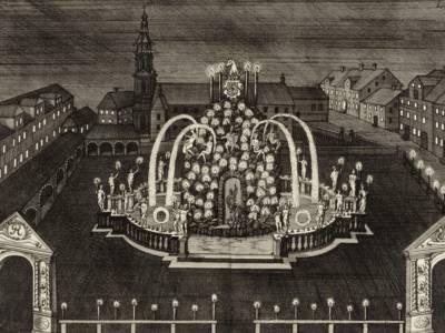 """Parnass-Brunnen (""""Neustädter Marktplatz""""), Kupferstich, 1728"""