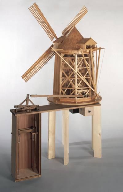 Modell: Vertikalwindkunst zur Entwässerung nach G. W. Leibniz. Maßstab 1:15