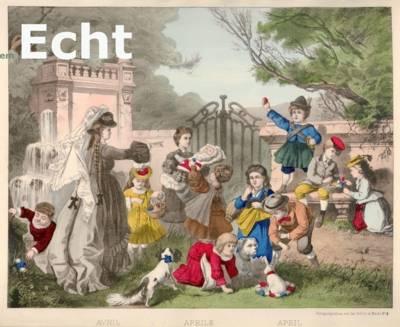 """Spielende Kinder die Ostereier sammeln, Ausschnitt aus dem Bilderbogen: """"April """", Kolorierte Lithografie, Mainz, um 1870, Hersteller: Jos. Scholz aus Mainz"""