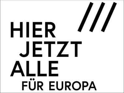 """Logo """"HIER JETZT ALLE für Europa"""""""