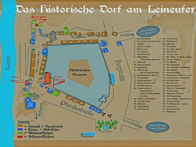 Zeichnung mit Aktionsflächen rund um das Historische Museum Hannover, auf denen das historische Dorf in der Vorweihnachtszeit aufgebaut ist.