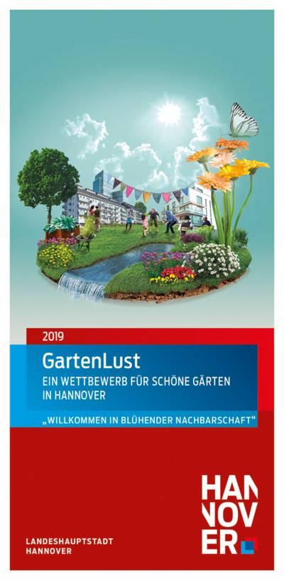 Flyer, der eine grünen Garten zwischen Häusern zeigt.