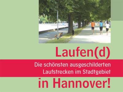 """Ausschnitt aus der Titelseite der Broschüre """"Laufend in Hannover"""", auf der Menschen in Sportkleidung unter Bäumen joggen."""