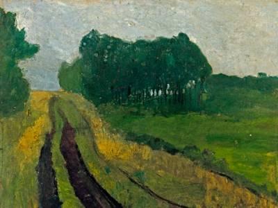 Paula Modersohn-Becker, Abendliche Landschaft mit Föhren um 1900