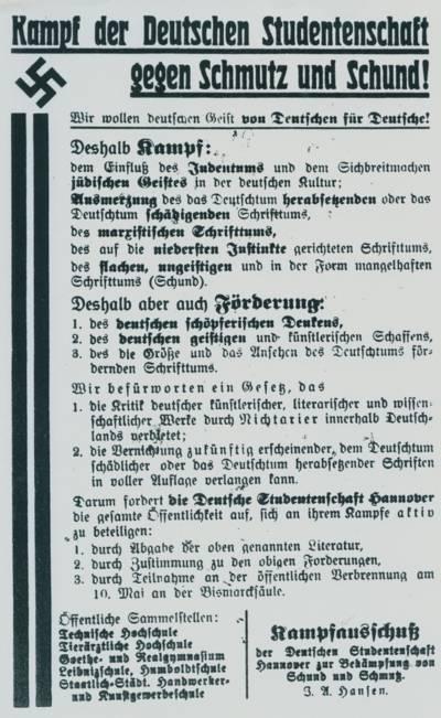 Aufruf zur Bücherverbrennung in Hannover in einem Plakat vom April 1933. Abgedruckt in: Peter Schulze: Juden in Hannover. Beiträge zur Geschichte und Kultur einer Minderheit, Hannover 1989, S. 52.
