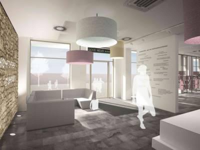 Im Foyer des ZeitZentrums Zivilcourage. Visualisierung: gwf-ausstellungen