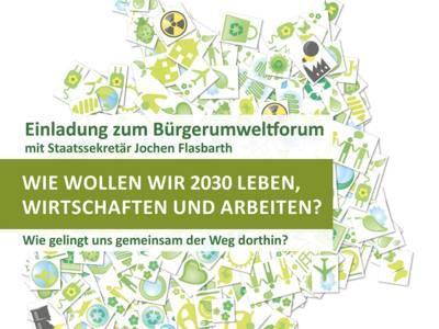 """Deckblatt des Flyers: Bürgerumweltforum """"Wie wollen wir 2030 leben, wirtschaften und arbeiten?"""""""